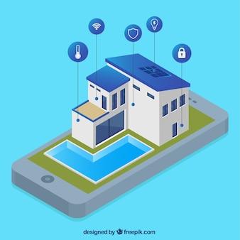 Casa intelligente con controllo smartphone in stile isometrico