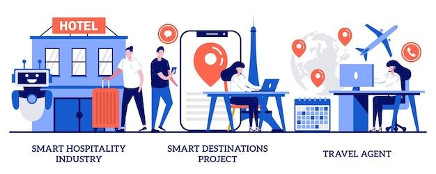 スマートホスピタリティ業界、スマートデスティネーションプロジェクト、小さな人々との旅行代理店サービスのコンセプト。海外旅行計画抽象的なベクトルイラストセット。ホテルとチケットをオンラインで予約する比喩。