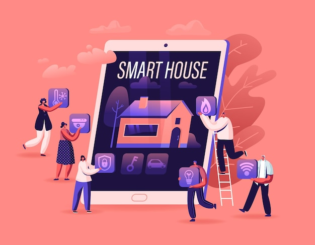 스마트 하우스 앱 개념. 화면에 인공 지능 기술이 적용된 건물 이미지가있는 거대한 태블릿의 사람들. 만화 평면 그림
