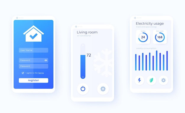 Smart house app mobile ui kit, smart home application ,