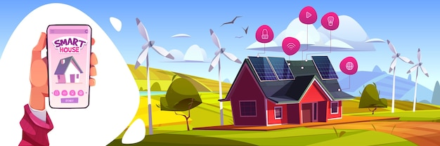 スマートハウス人工知能技術の概念。家庭用iot機器を制御するためのアプリを備えたハンドホールドスマートフォン。モノのインターネットアプリケーションサービス、グリーンエネルギー漫画イラスト