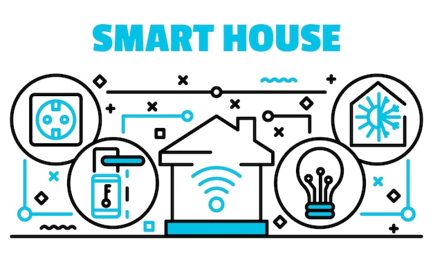 Smart house banner, outline style