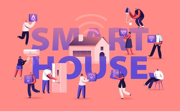 스마트 하우스 개념. 만화 평면 그림