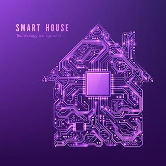 Концепция умного дома схема дома в фиолетовых тонах