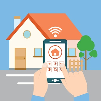 Smart house concept - hand holding mobile with app on the screen for remote control of the house.