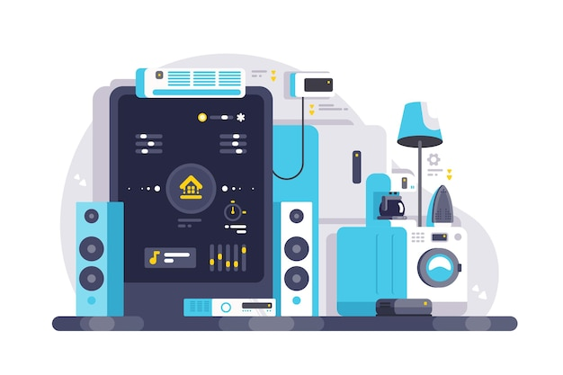 スマートフォンアプリのイラストで制御されるスマートハウス