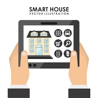 Smart house design over white background vector illustration