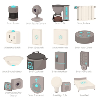 Smart house devices icons set