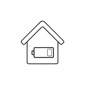 스마트 하우스 에너지 수준 배터리 손으로 그린 개요 낙서 아이콘. 스마트 홈 전원 모니터 개념