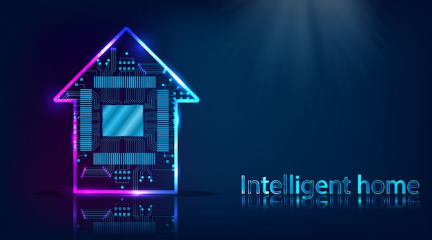 Smart house. home technology system with wireless centralized control background