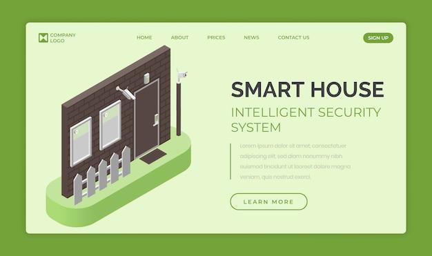 Умный дом, шаблон целевой страницы интеллектуальной системы безопасности. концепция контроля доступа и сигнализации.