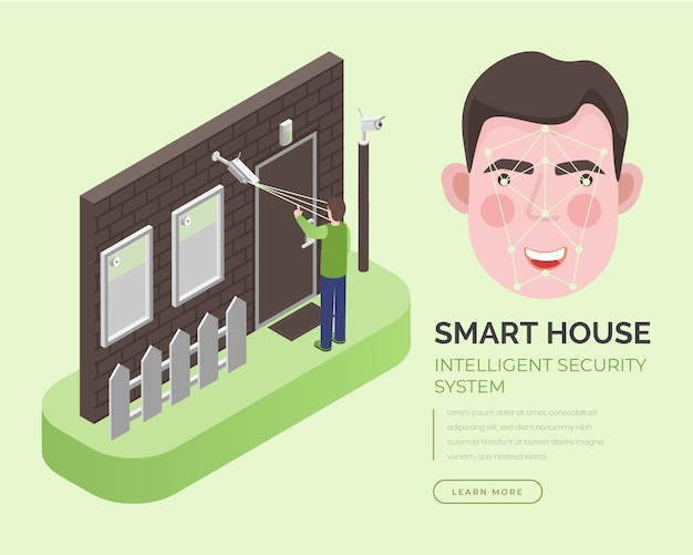 Smart house, intelligent security system landing page  template.