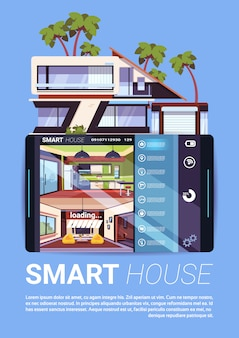 Smart house interface on digital tablet, modern technology of home control and security concept