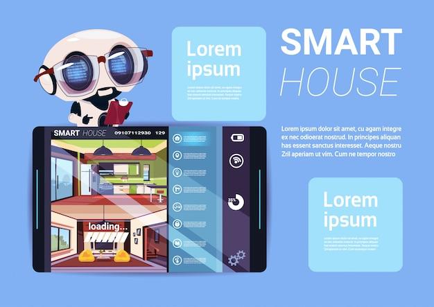 Smart house interface on digital tablet, modern technology of home management concept