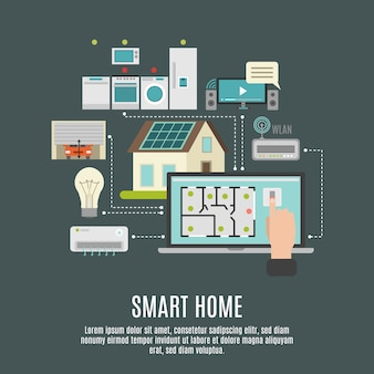Smart house iot flat icon poster