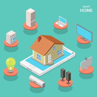 Smart house isometric flat vector concept.
