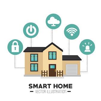 Smart house and its applications isolated icon