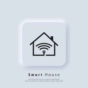 Логотип умного дома. значок умный дом. домашняя автоматизация. концепция домашней системы с беспроводным централизованным управлением. вектор. значок пользовательского интерфейса. белая веб-кнопка пользовательского интерфейса neumorphic ui ux. неоморфизм
