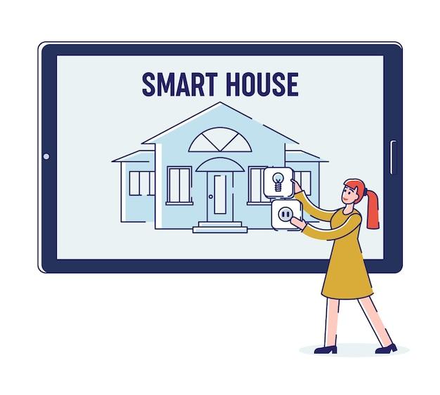 スマートハウスモバイルアプリの女性がスマートハウスインテリジェンステクノロジーをセットアップしています