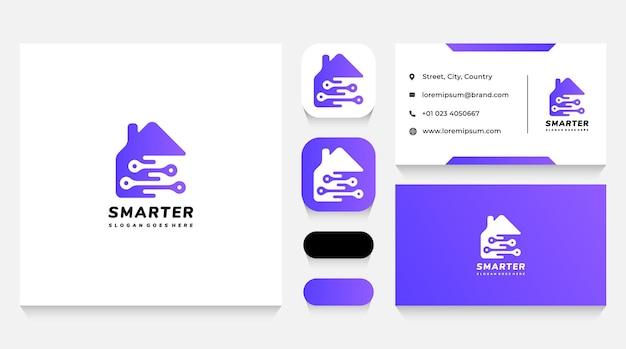 Шаблон логотипа smart house tech и визитная карточка