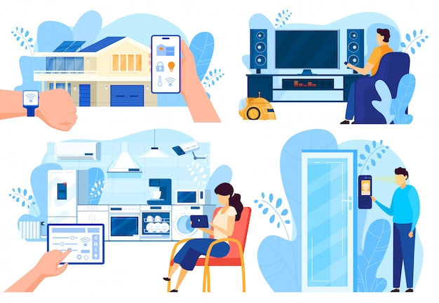 Smart house technologies, people controlling home systems remotely, vector illustration