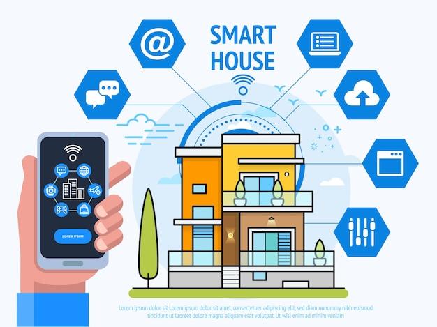 スマートハウステクノロジーコンセプト。制御システムアプリとスマートフォンを保持している人間の手。