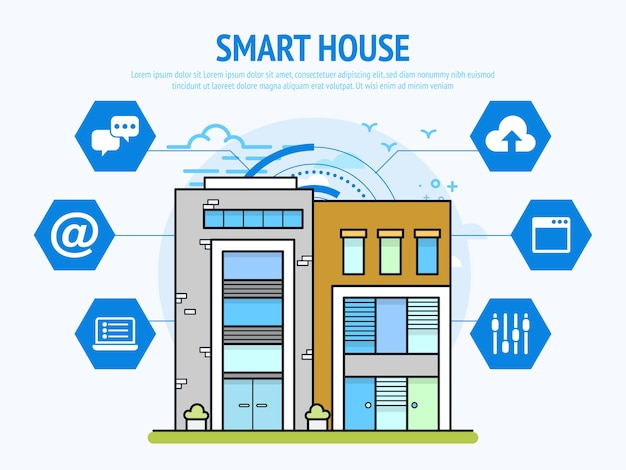 Smart house technology of home automation concept.
