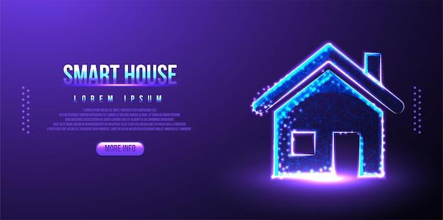 Умный, дом, технологичный низкополигональный каркасный дизайн сетки