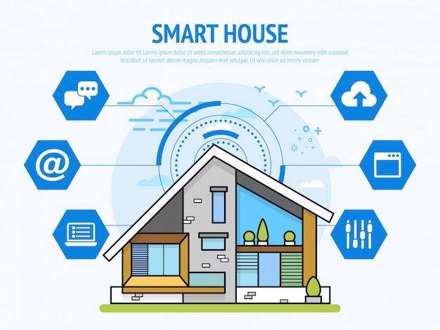 홈 오토메이션 개념의 스마트 하우스 기술. 삽화