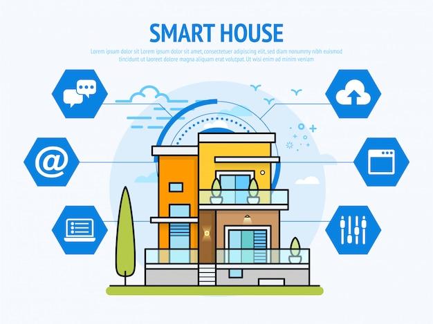 ホームオートメーションコンセプトインフォグラフィックのスマートハウステクノロジー