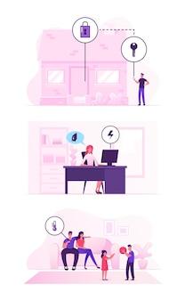 스마트 하우스 기술 시스템 개념. 만화 평면 그림