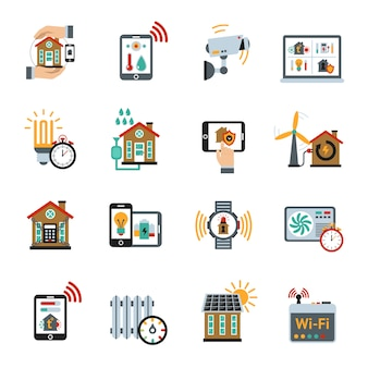 Smart house technology system icons