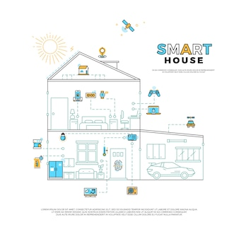 스마트 하우스 기술 시스템 벡터 개념