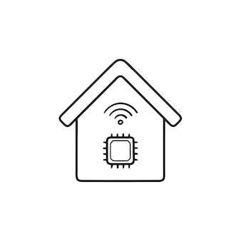 칩 손으로 그린 개요 낙서 아이콘이 있는 스마트 하우스. 스마트 홈 기술, 인공 지능 개념. 인쇄, 웹, 모바일 및 흰색 배경에 인포 그래픽에 대한 벡터 스케치 그림.