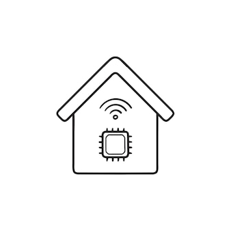 Smart house with chip hand drawn outline doodle icon. smart home technology, artificial intelligence concept. vector sketch illustration for print, web, mobile and infographics on white background.