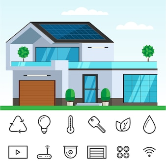 Smart house with solar panel