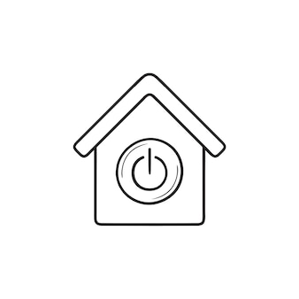 Smart house with switch on button hand drawn outline doodle icon. smart home automation technology concept