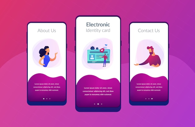 Smart id card app interface template.