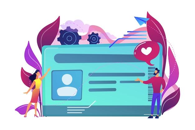 写真とユーザーのイラスト付きのスマートidカード
