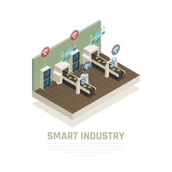 Smart indusrty concept with modern technology symbols isometric  illustration
