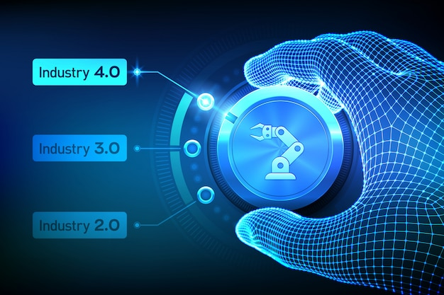 스마트 인더스트리 4.0 개념. 산업 혁명 단계. 손잡이를 돌리고 industry 4.0 모드를 선택하는 와이어 프레임 손.