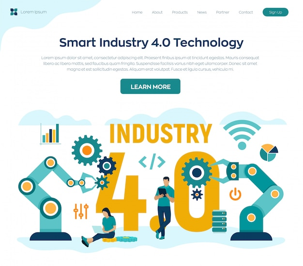 Smart industry 4.0 concept. industrial revolutions steps.
