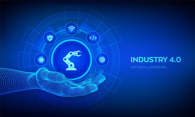 Smart industry 4.0 symbol in robotic hand. factory automation. autonomous industrial technology concept.