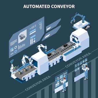 自動化された組立ラインの最新のアームマニピュレーターとホログラフィックスクリーンを備えたスマートな産業インテリジェント製造アイソメトリックコンポジション