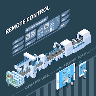 Smart industry isometric composition with remote control of conveyor system on dark