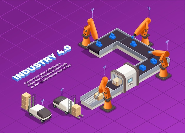 Smart industry isometric concept with automated forklifts and machinery packing and moving goods