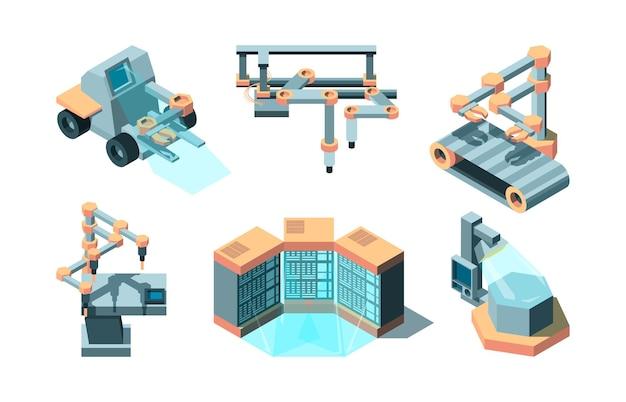 스마트 산업 아이소 메트릭. 기계 미래 로봇 기술 컴퓨팅 3d 원격 생산 사진 세트.