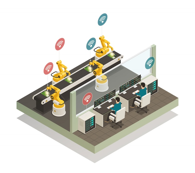 Smart industry manufacturing isometric composition.