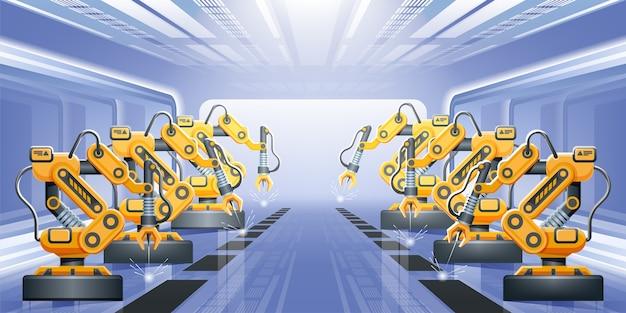 스마트 산업 컨베이어와 로봇 팔을 갖춘 현대적인 스마트 공장. 컨셉 일러스트