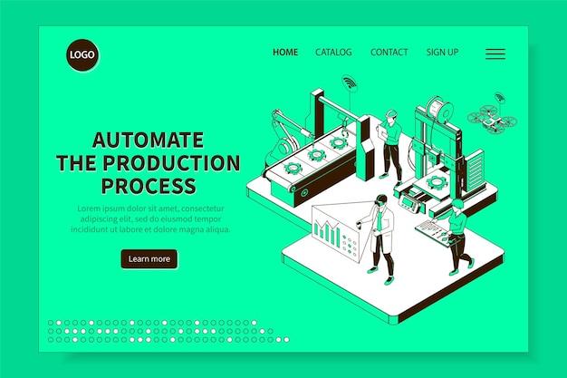 Sito web isometrico del processo di produzione industriale intelligente con pagina di destinazione di produzione robotica controllata da computer
